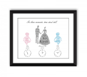 Wedding and Baby black frame 2 babies