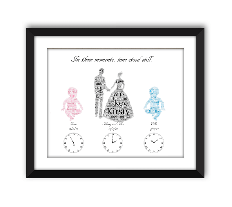 Personalised Wedding and Baby Word Art Frame - Words With Love