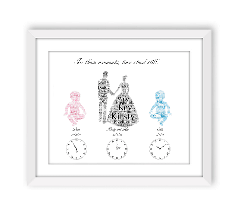 Personalised Wedding and Baby Word Art Frame
