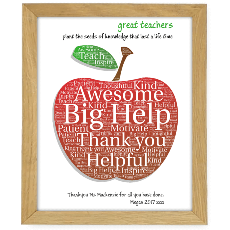 Apple Teacher Small Wooden Frame
