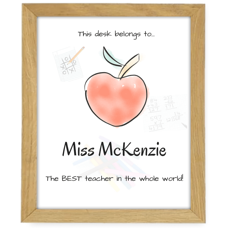 Apple Teacher Small Wooden Frame Drawing