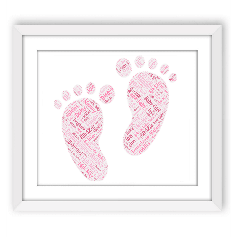 baby girl footprints words with love