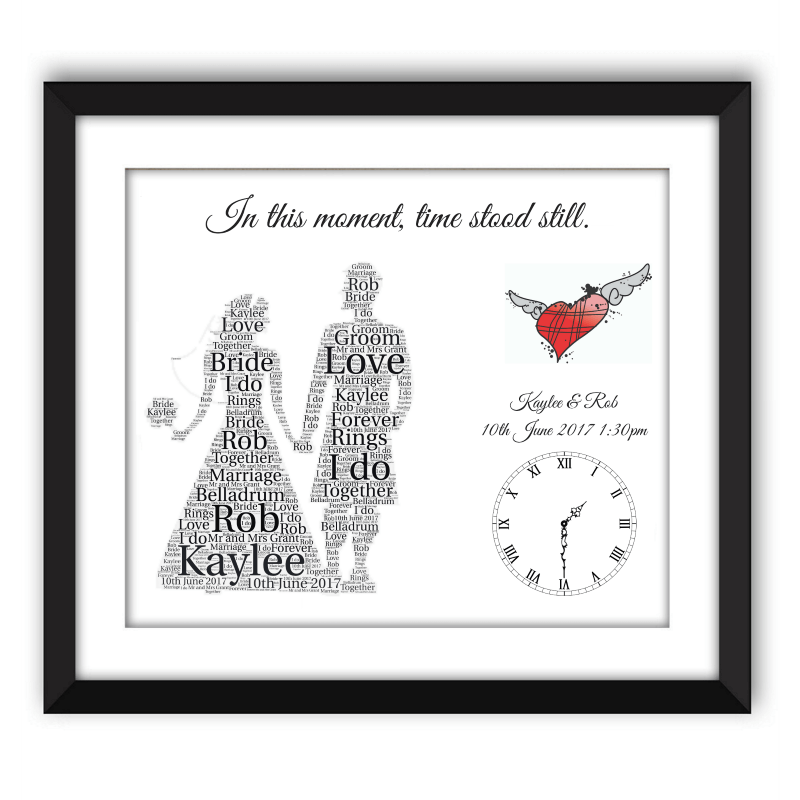 Tartan Heart Kilt Wedding Black Frame