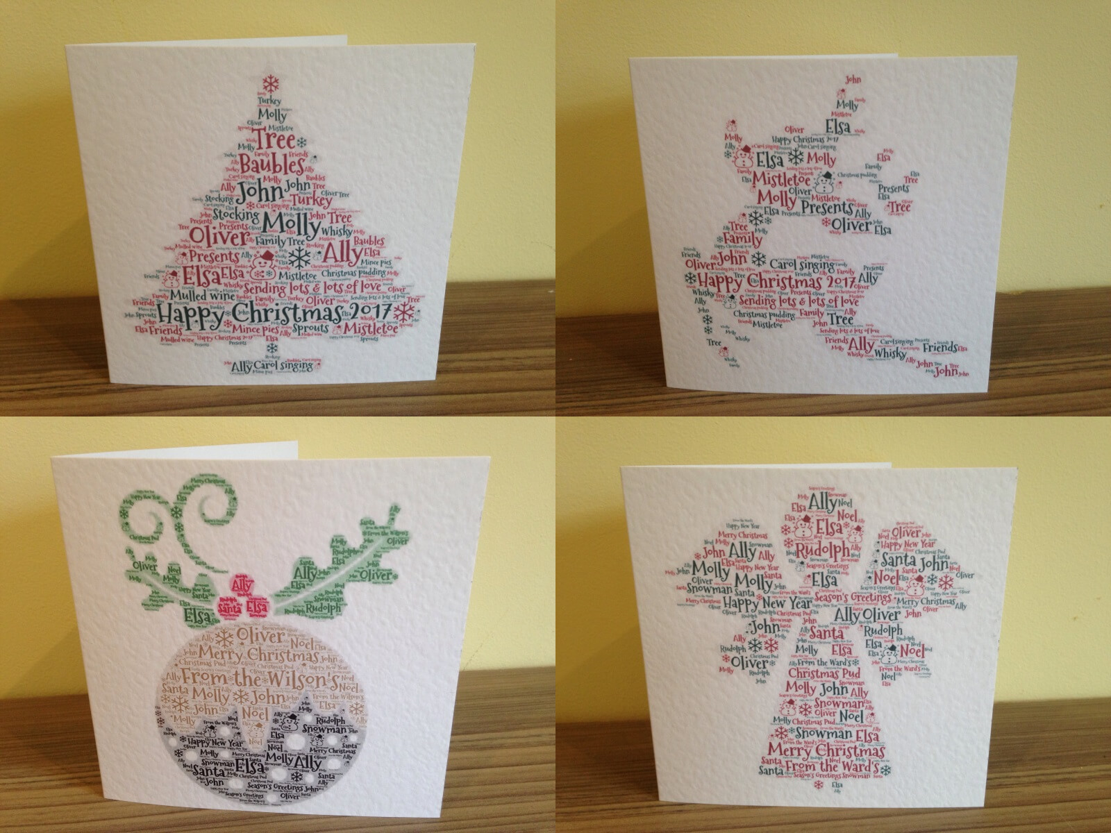 Personalised Christmas Cards Words With Love