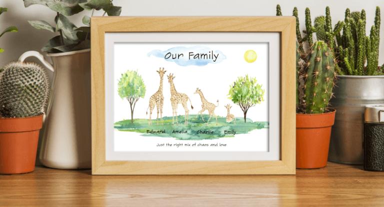 Giraffe Family Print