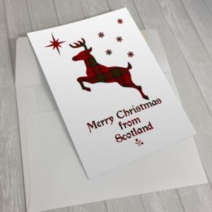Tartan Christmas Stag Card