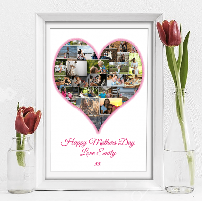 Mothers Day White Heart Collage