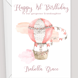 Personalised Hot Air Balloon Birthday Card Pink Blue